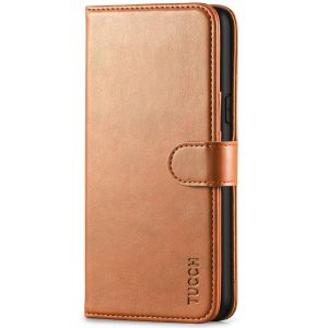 TUCCH iPhone XS Wallet Case, iPhone X / XS Leather Cover, Auto Sleep/Wake up, Magnet Clasp, Stand - Light Brown