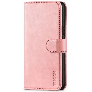 TUCCH iPhone XS Wallet Case, iPhone X / XS Leather Cover, Auto Sleep/Wake up, Magnet Clasp, Stand - Rose Gold