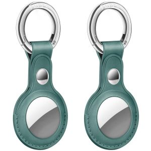 AirTag Tracker Holder Cover with Key Ring - PU Leather AirTag Cover Case Myrtle Green-2 Pack