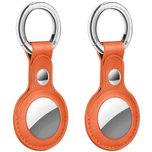 AirTag Tracker Holder Cover with Key Ring - PU Leather AirTag Cover Case Orange-2 Pack