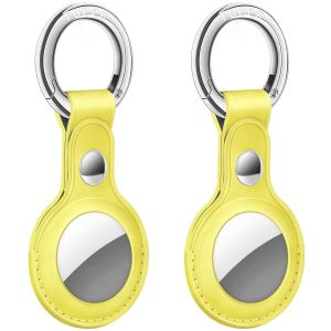 AirTag Tracker Holder Cover with Key Ring - PU Leather AirTag Cover Case Yellow-2 Pack