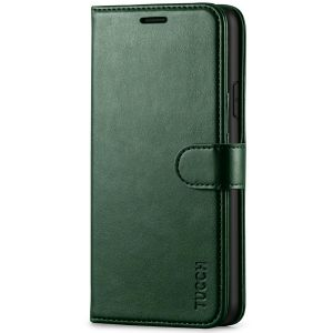 TUCCH iPhone XR Wallet Case - iPhone XR Leather Cover - Midnight Green