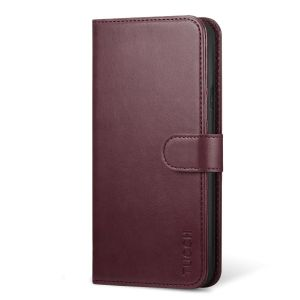 TUCCH iPhone XS Wallet Case, iPhone X / XS Leather Case Cover, Auto Sleep/Wake up, Folio, RFID, Stand, Magnet Clasp - Wine Red