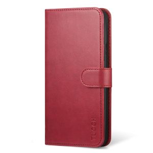 TUCCH iPhone XS Wallet Case, iPhone XS Leather Case, Auto Sleep/Wake up, Book Flip Folio Style - Dark Red