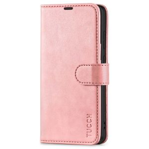 TUCCH SAMSUNG S21FE Wallet Case, SAMSUNG Galaxy S21 FE Case with Magnetic Clasp - Rose Gold