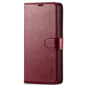 TUCCH SAMSUNG S21FE Wallet Case, SAMSUNG Galaxy S21 FE Case with Magnetic Clasp - Wine Red