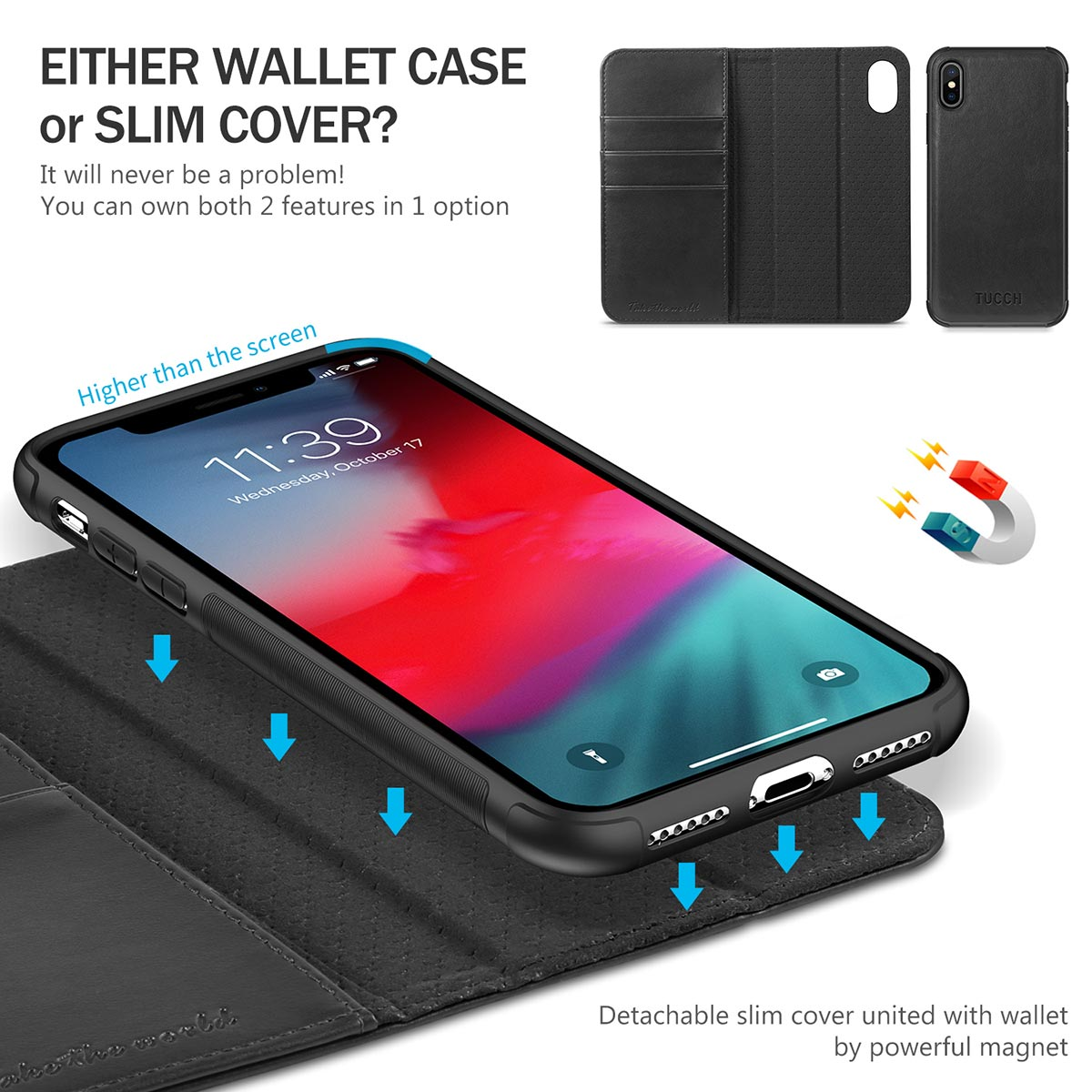 TUCCH 2IN1 Detachable Cover Leather Wallet Case for iPhone X/10, Auto Sleep/Wake, Magnetic Closure, support wireless charging