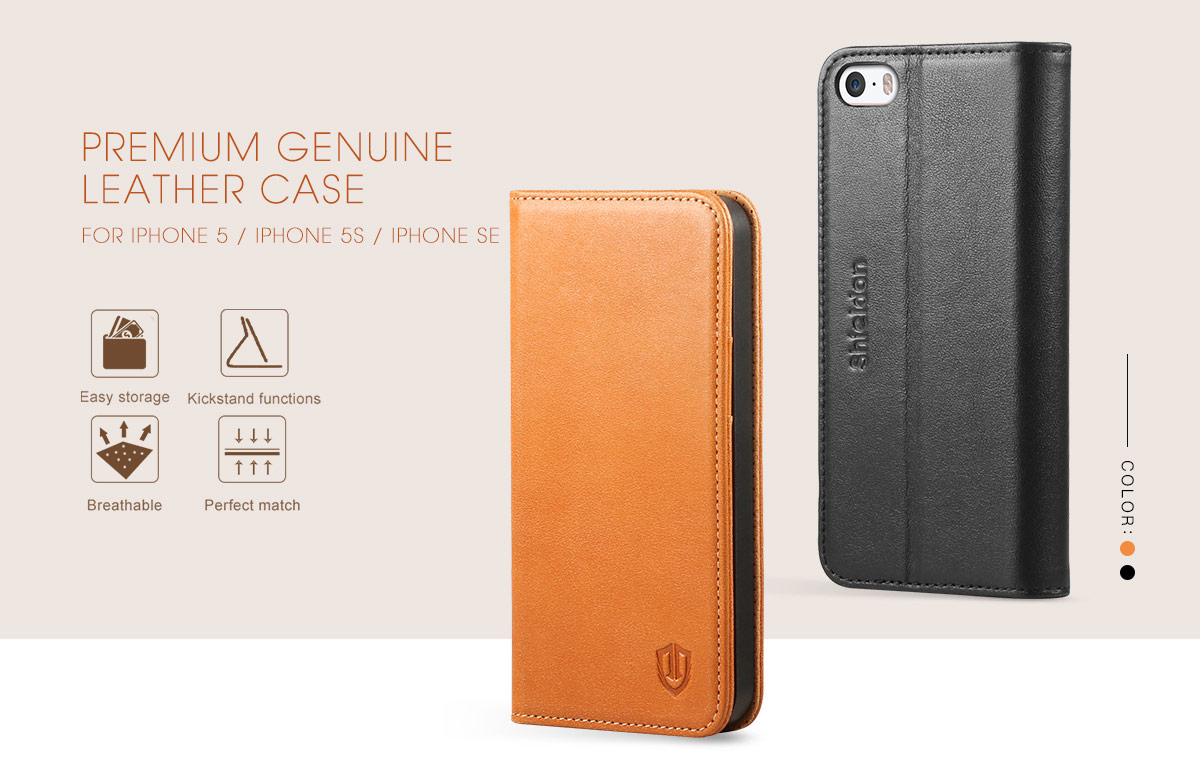 SHIELDON iPhone 5S Flip Case - Genuine Leather Wallet Cover