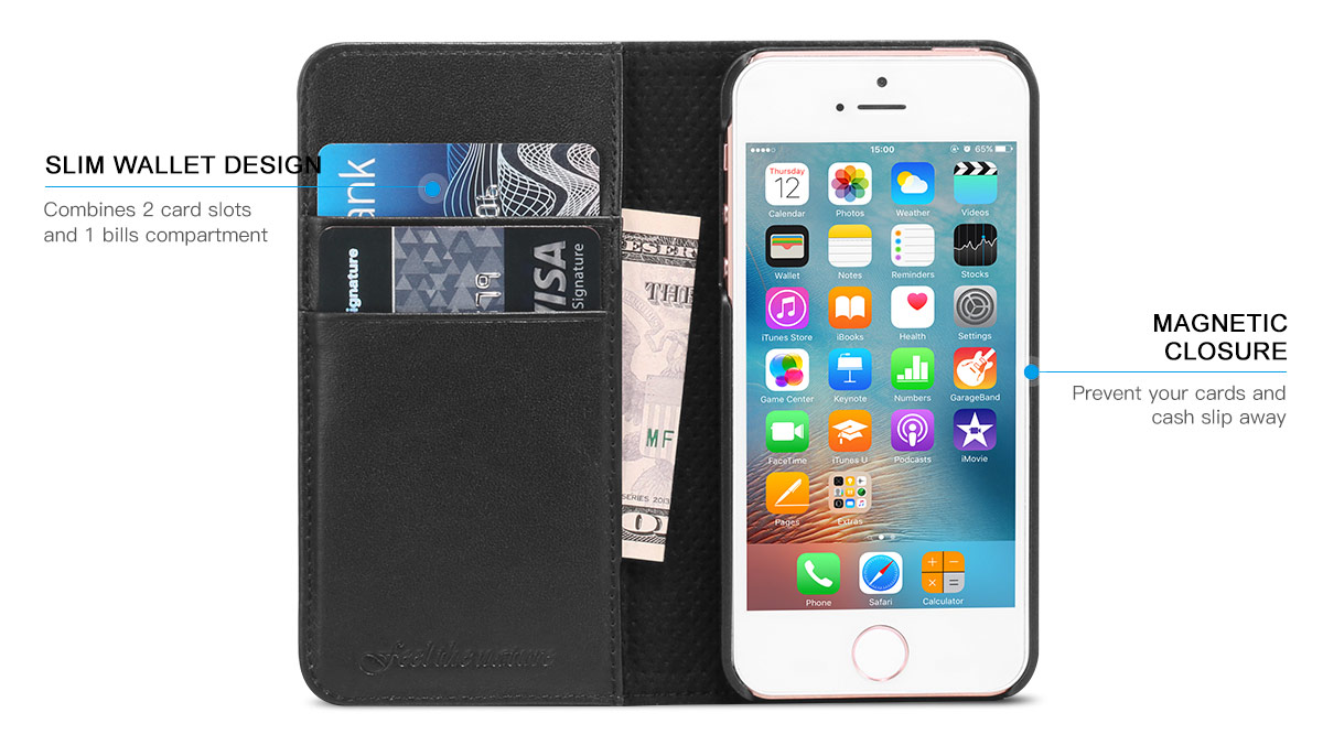 SHIELDON iPhone SE Genuine Leather Wallet Case