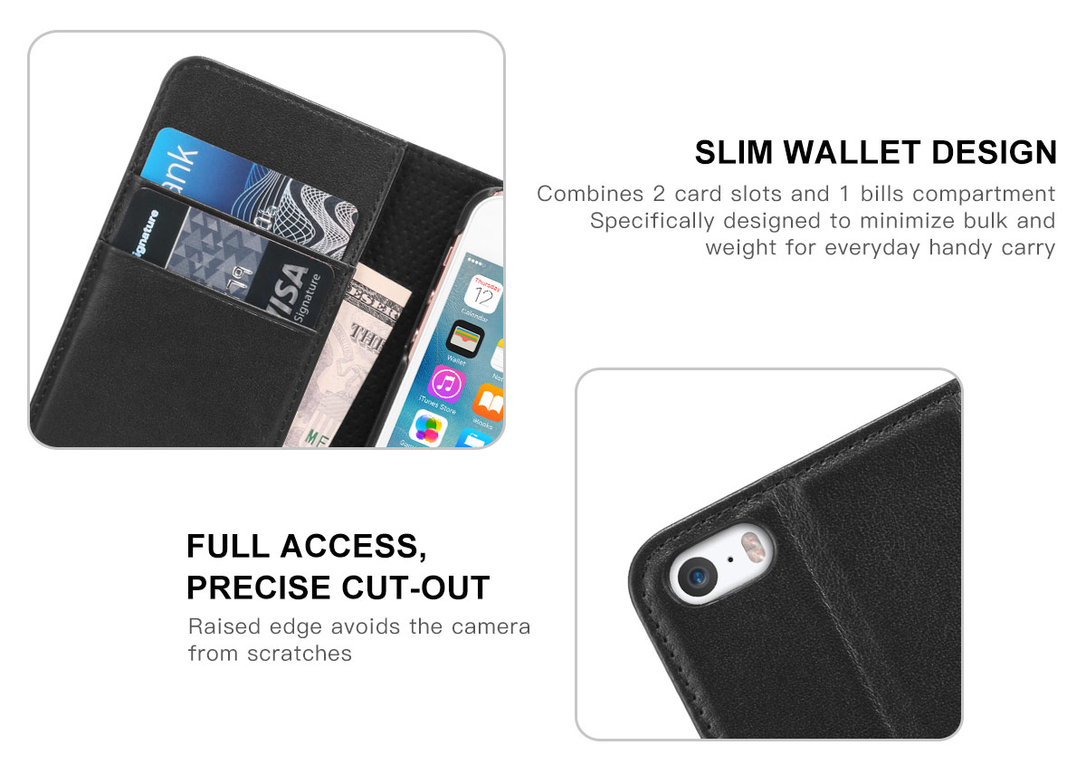 SHIELDON Genuine Leather iPhone 5 Wallet Case