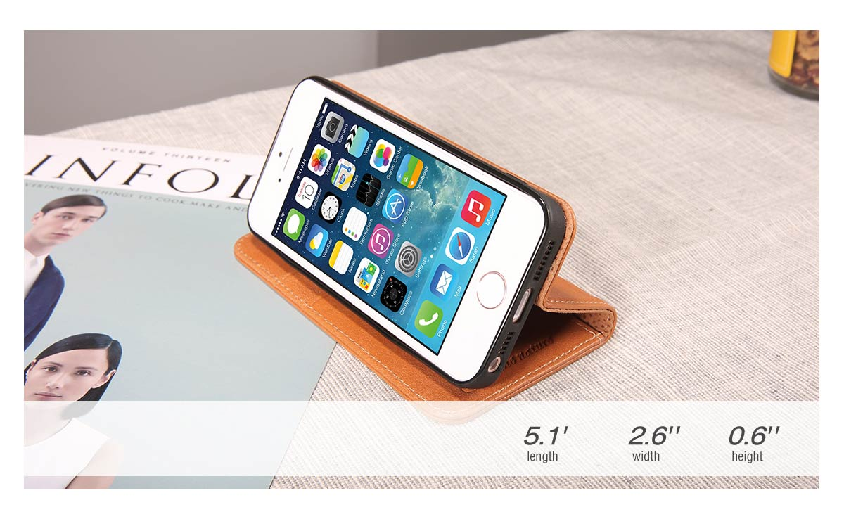 SHIELDON iPhone 5S Leather Genuine Wallet Phone Case
