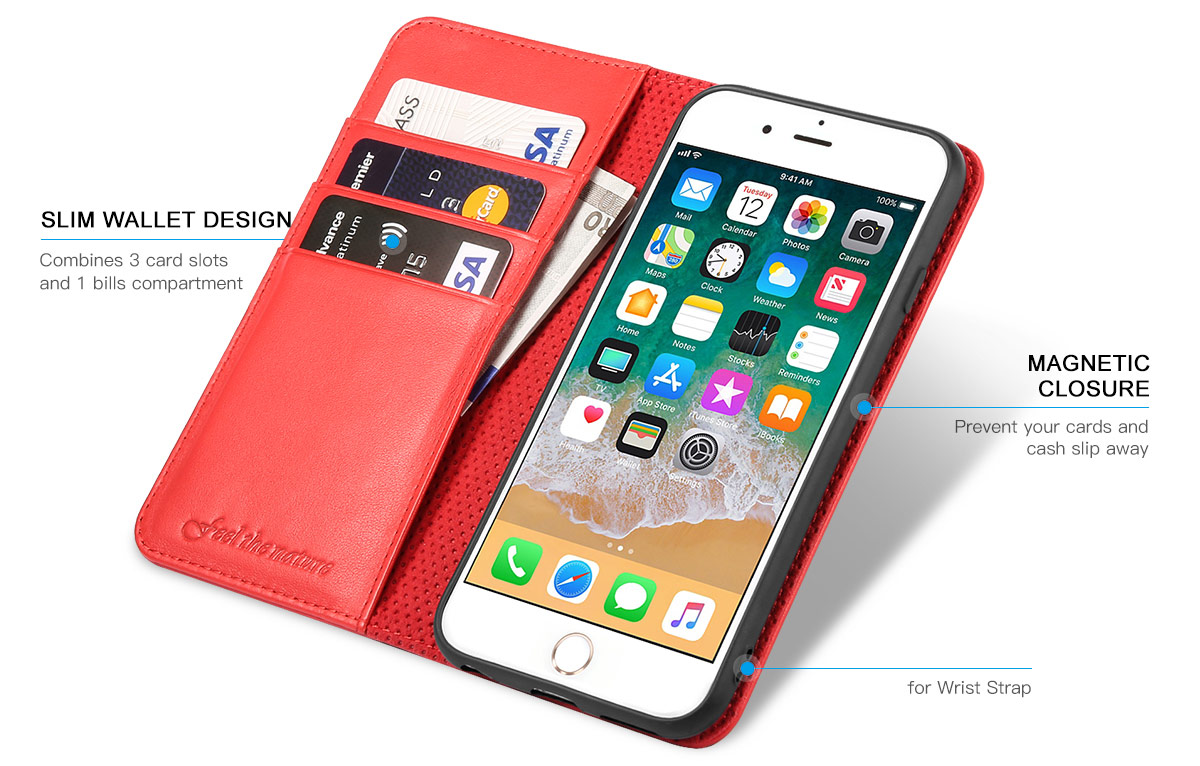 SHIELDON iPhone 6S Wallet Phone Case with Genuine Leather with TPU