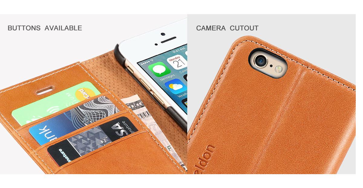 SHIELDON iPhone 6S Flip Wallet Case