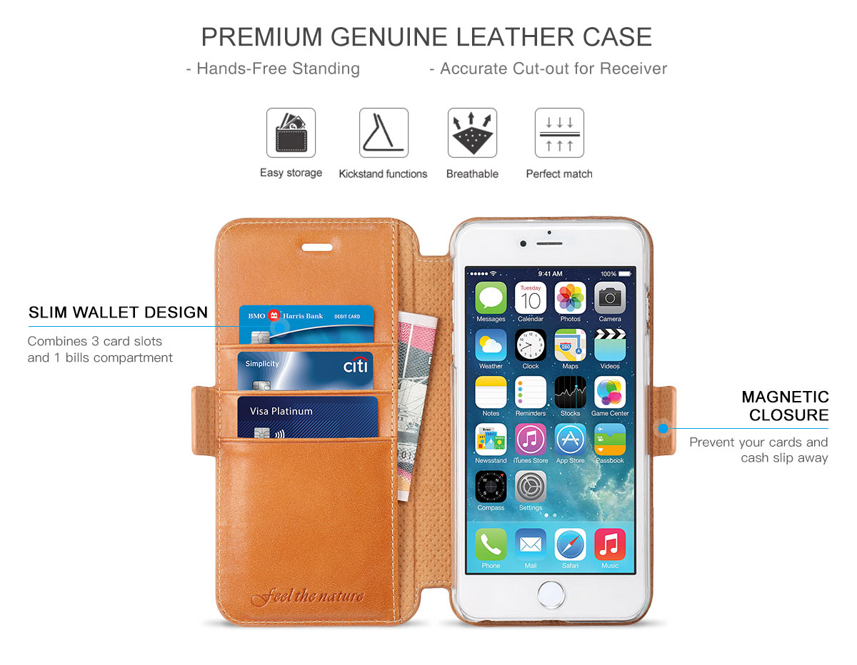 SHIELDON iPhone 6 Plus Genuine Leather Case with Card Holder