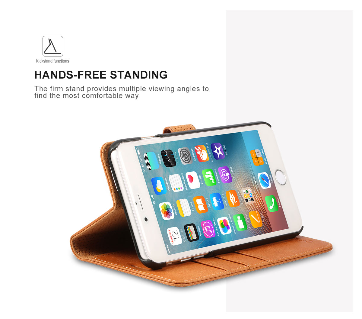 shieldon iphone 6s plus genuine wallet leather case with stand. Black Bedroom Furniture Sets. Home Design Ideas
