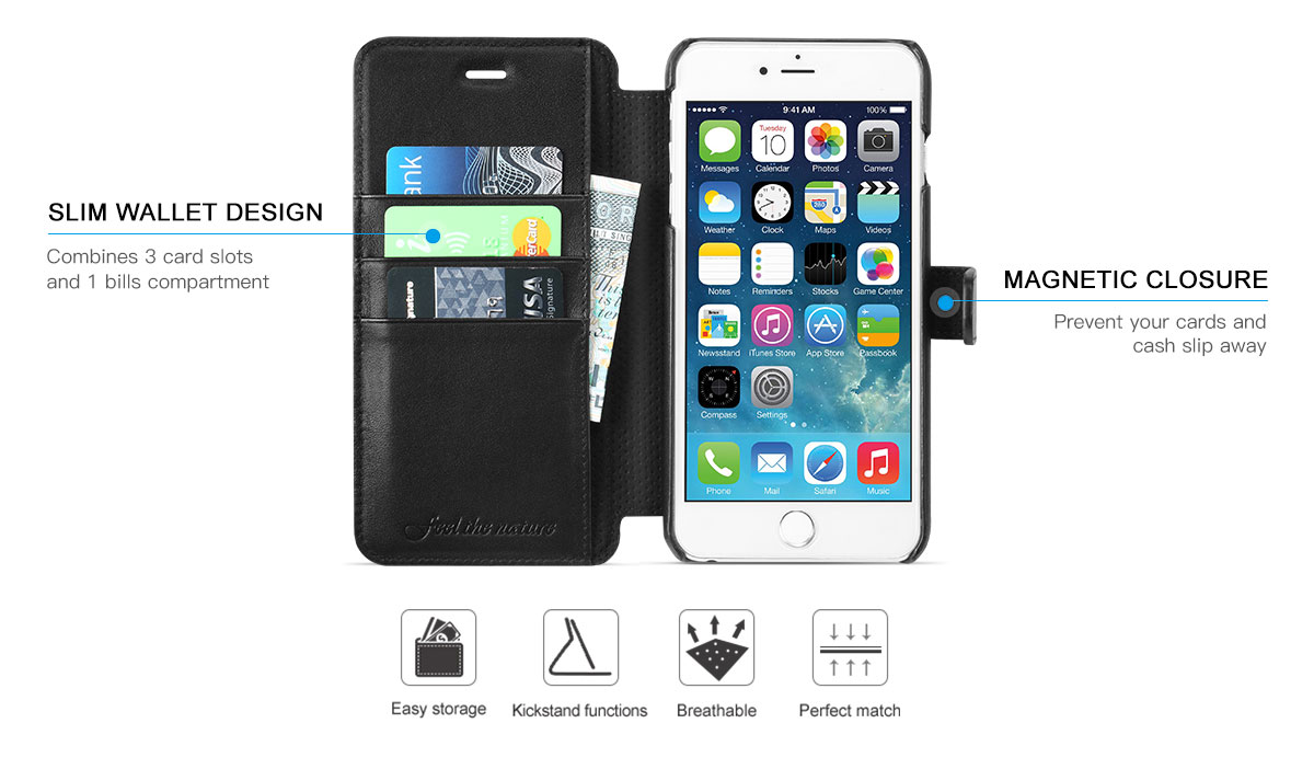 SHIELDON iPhone 6S Plus Genuine Folio Wallet Case with Kickstand