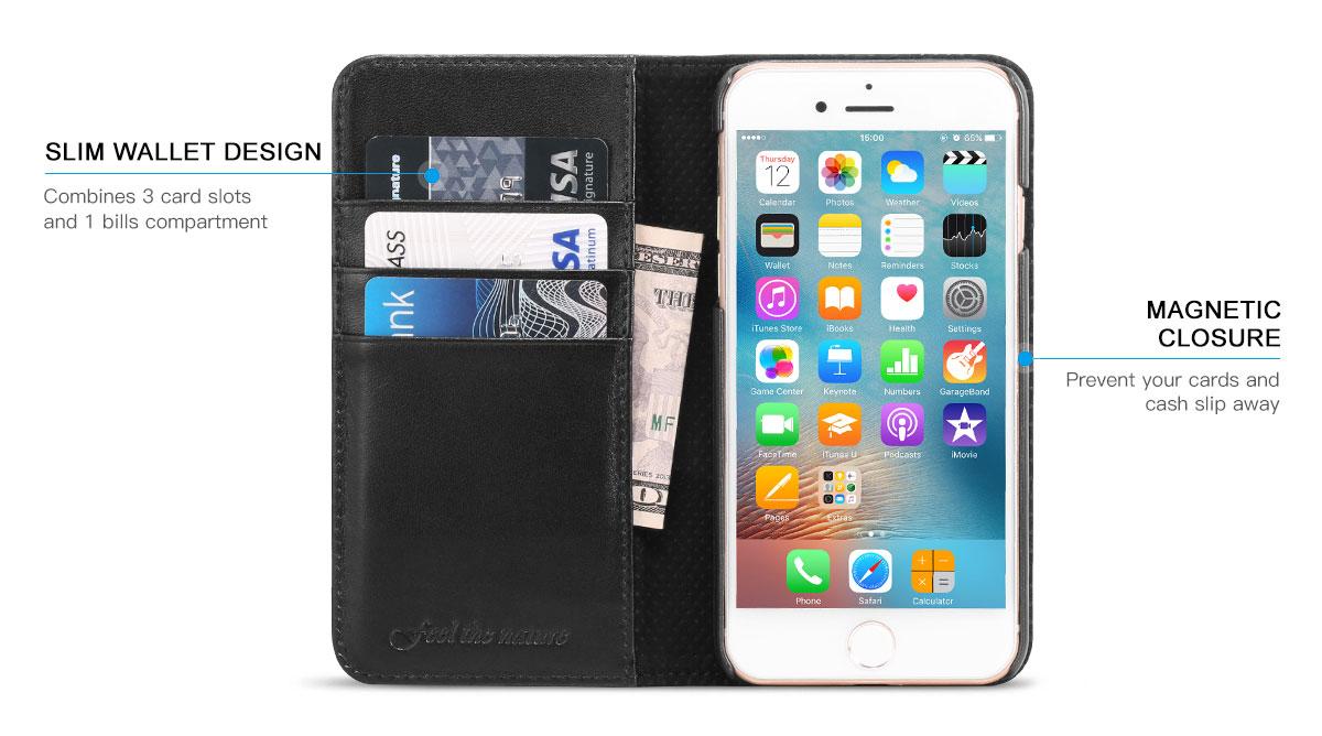 SHIELDON iPhone 7 Wallet Phone Case