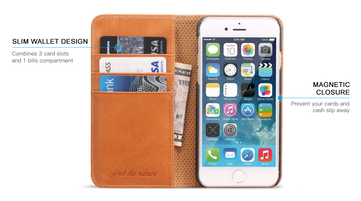SHIELDON iPhone 7 Leather Wallet Phone