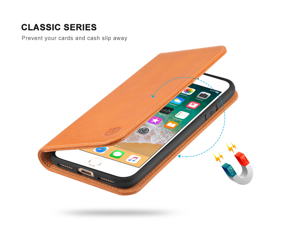 SHIELDON iPhone 8 Wallet Case with Genuine Leather Case, Magnet Closure, Kickstand Function, Flip Cover, Folio Style