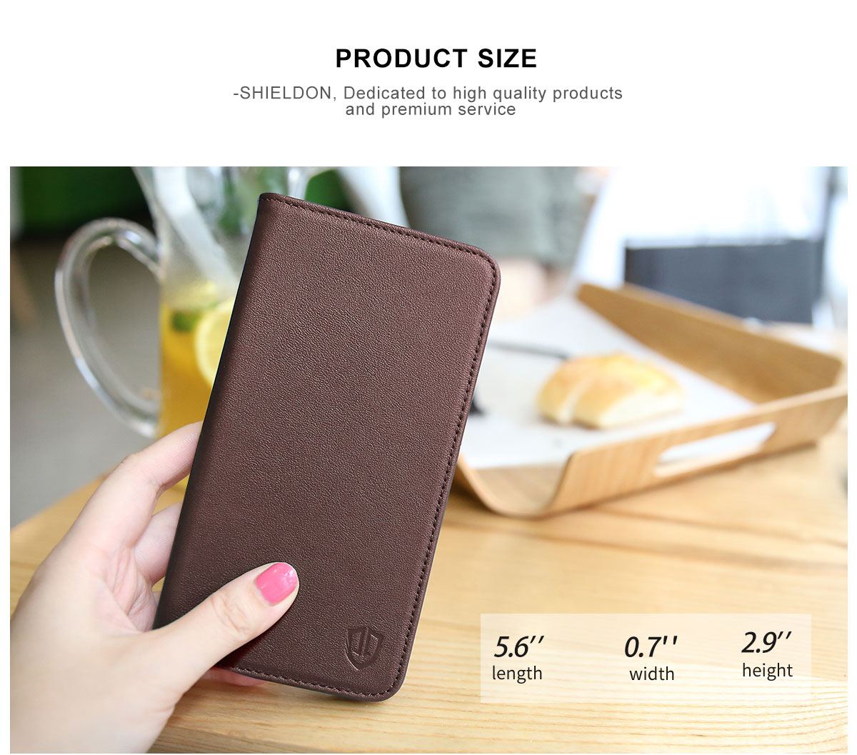 SHIELDON iPhone 7 Leather Cover with Book Style, Stand, Magnet, Genuine Leather