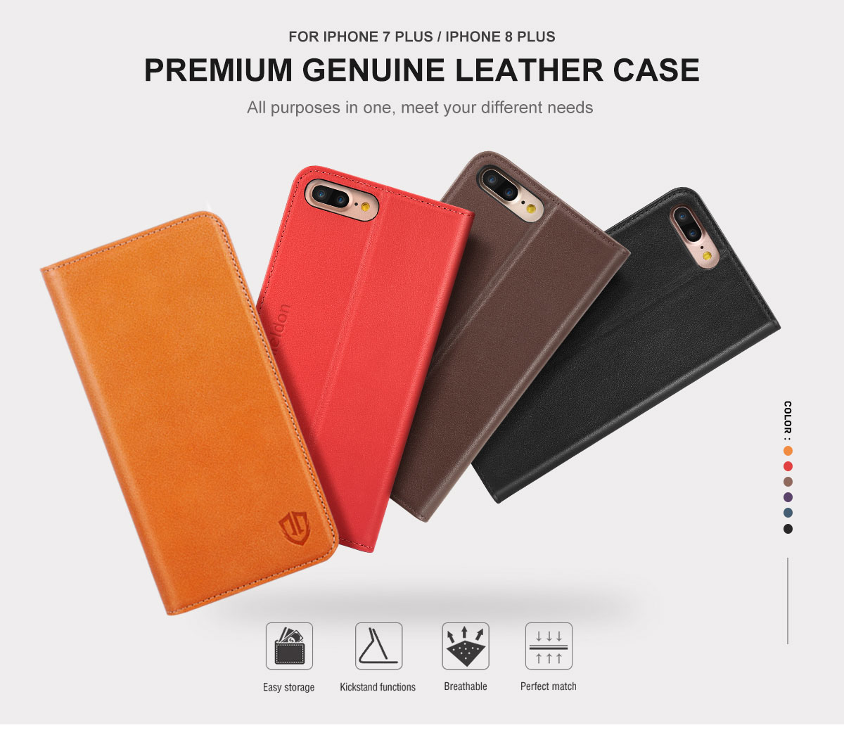 Shieldon iPhone 7 Plus Genuine Leather Wallet Case