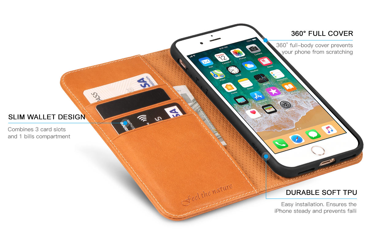 Shieldon iPhone 8 Plus Wallet Case