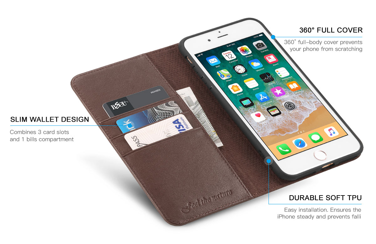 Shieldon iPhone 8 Plus Genuine Leather Wallet Case