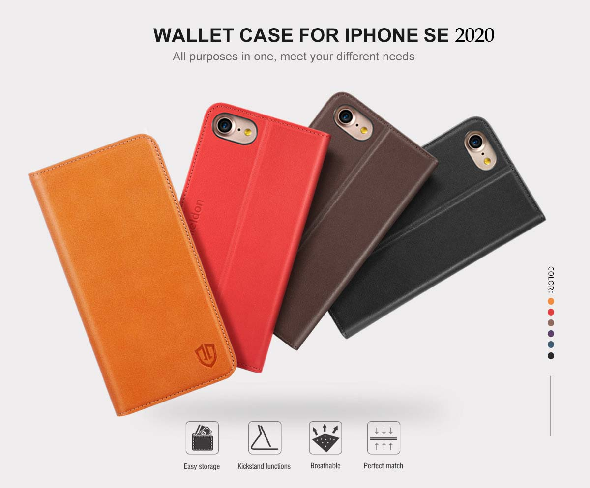 SHIELDON New iPhone SE 2020 Wallet Case with Genuine Leather Case, Magnet Closure, Kickstand Function, Flip Cover, Folio Style