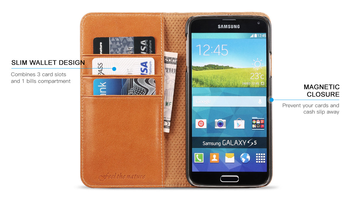 SHIELDON Galaxy S5 Leather Wallet Case