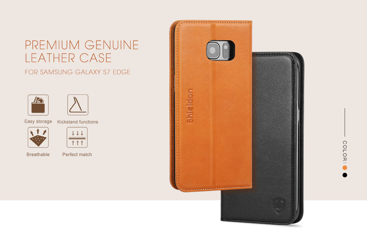 SHIELDON Galaxy S7 Edge Genuine Leather Flip Case