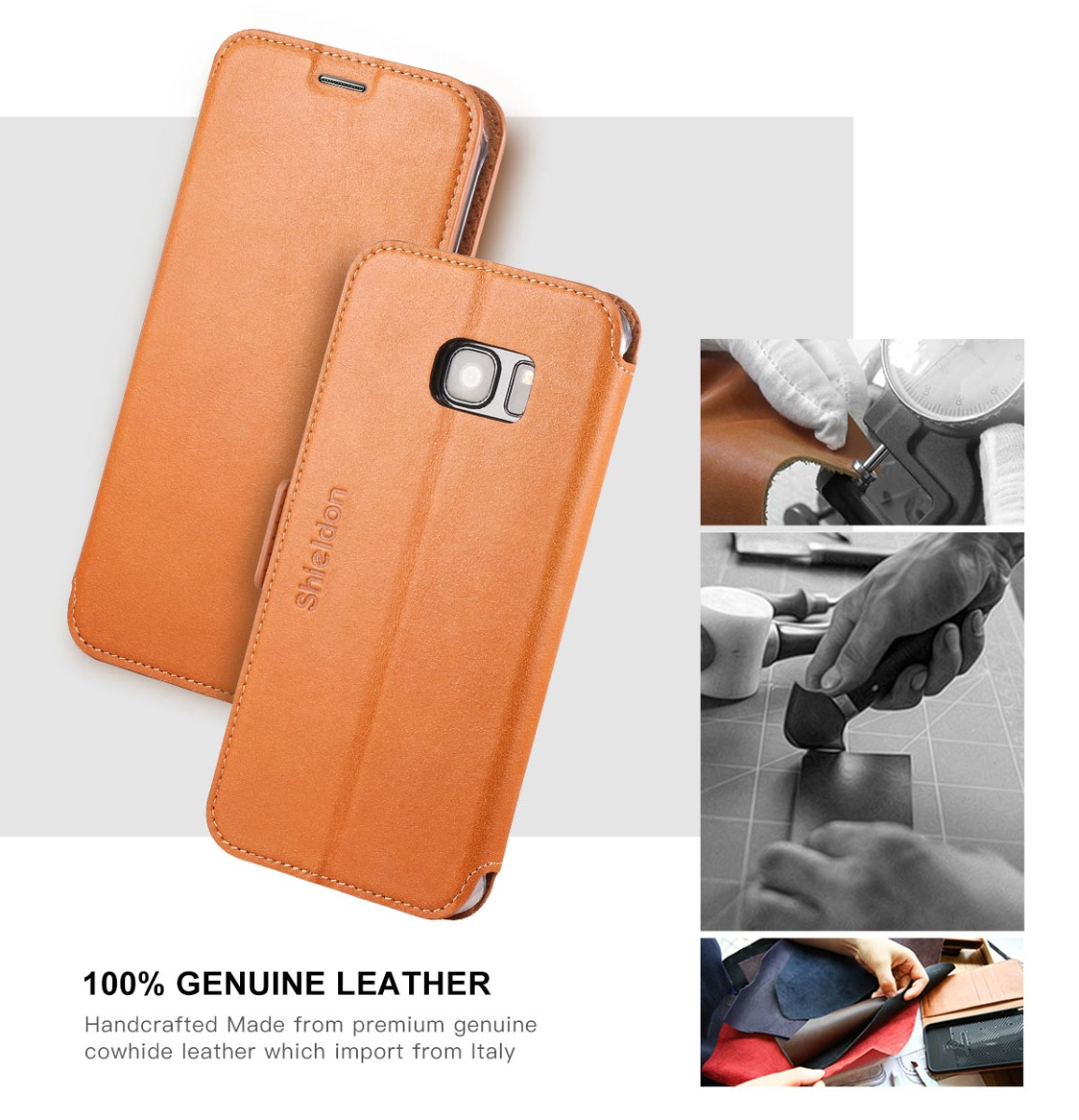 SHIELDON Galaxy S7 Edge Genuine Leather Kickstand Case