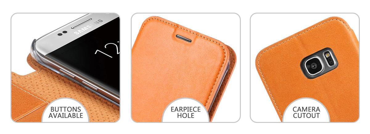 SHIELDON Galaxy S7 Edge Genuine Leather Kickstand Case