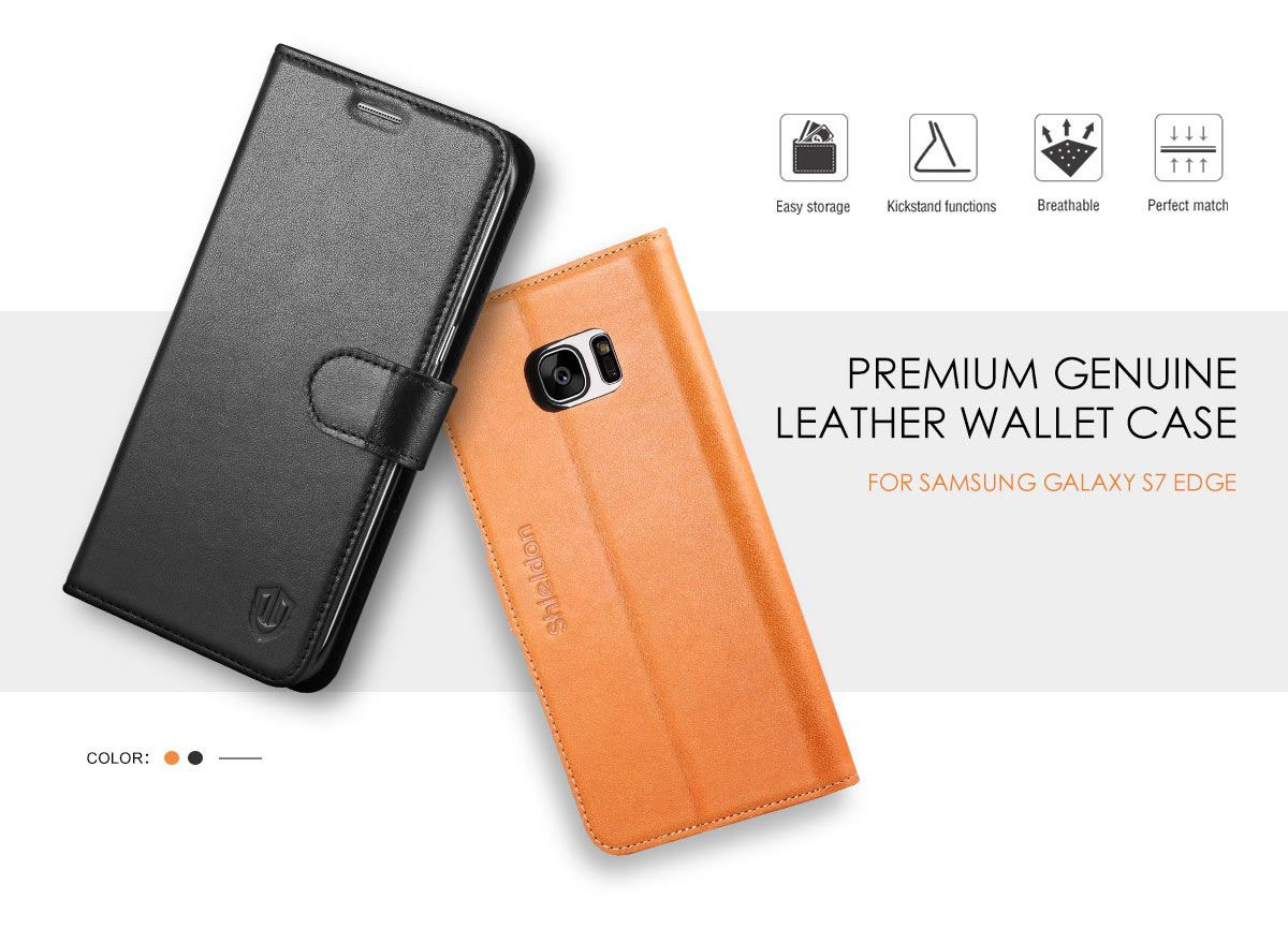 SHIELDON Galaxy S7 Edge Genuine Leather Wallet Case