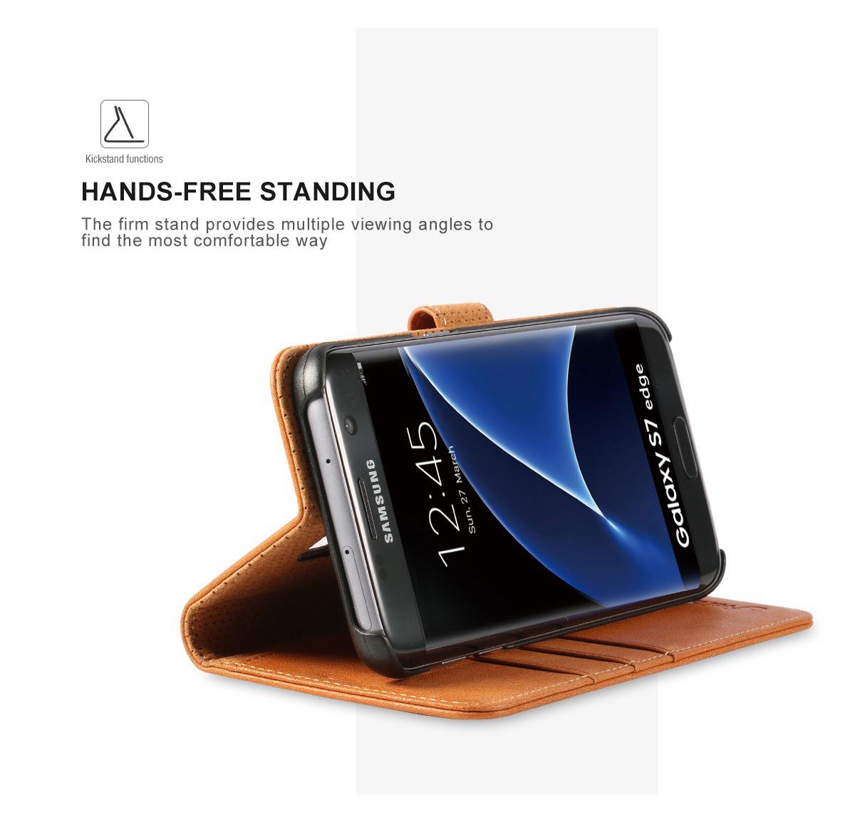 SHIELDON Galaxy S7 Edge Genuine Leather Wallet Case