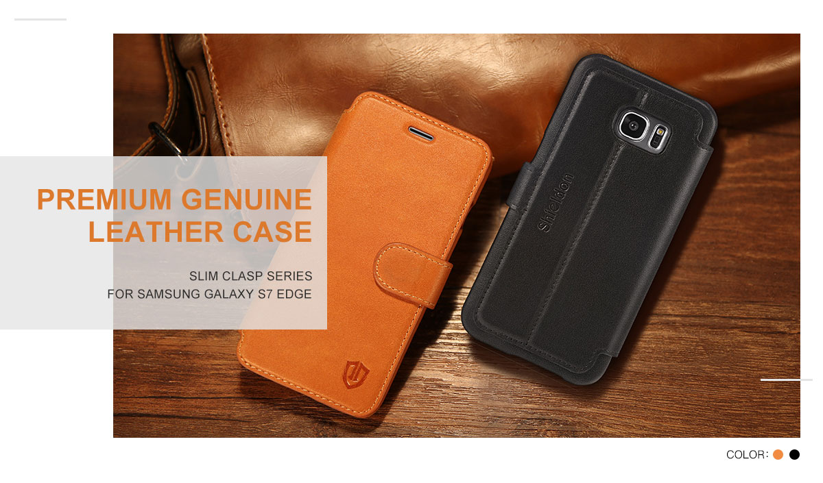 SHIELDON Galaxy S7 Edge Case - Genuine Leather Case