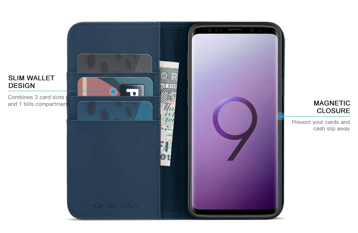 SHIELDON Samsung Galaxy S9 Genuine Leather Wallet Case