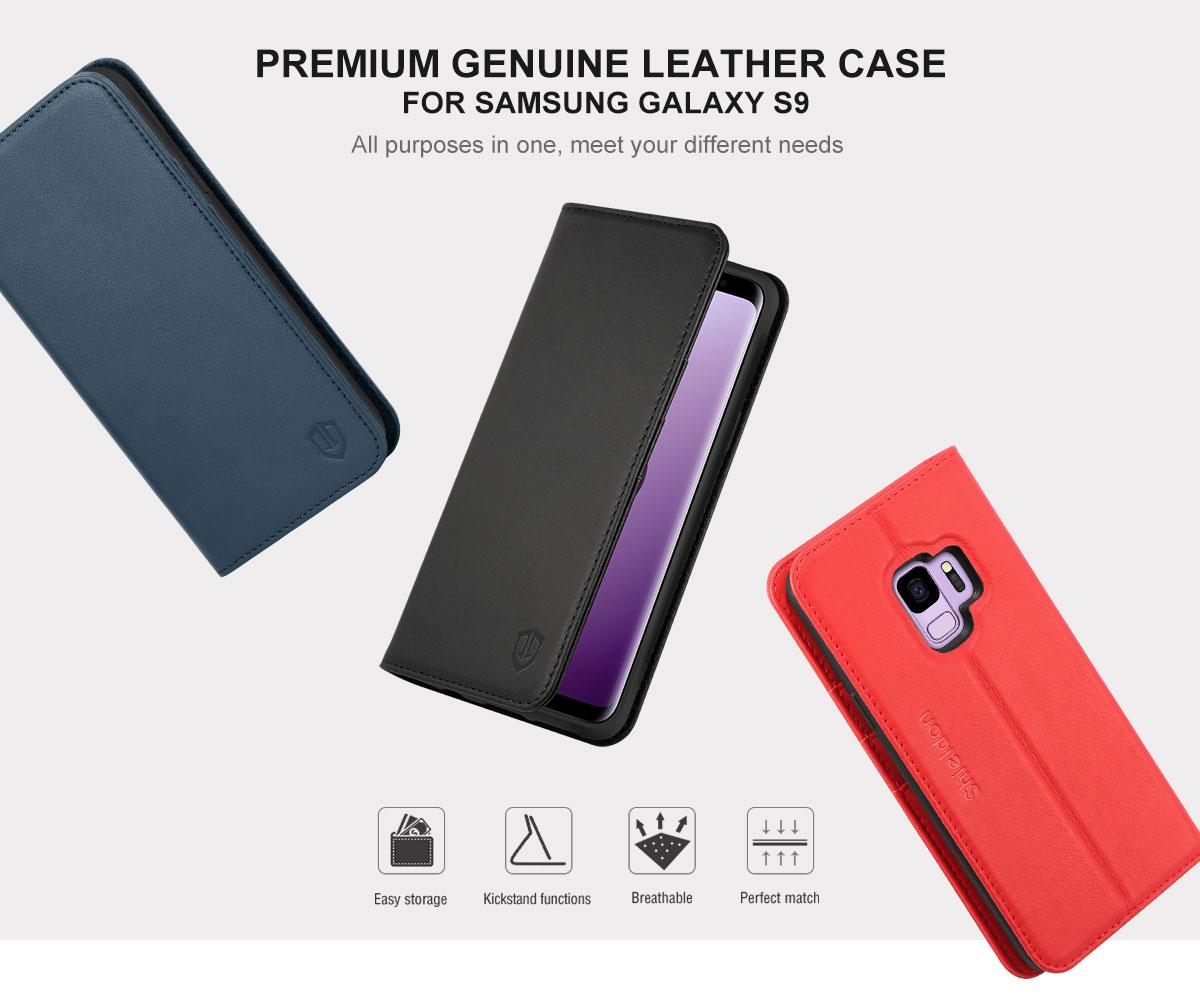 SHIELDON Galaxy S9 Book Flip Folio Leather Wallet Case