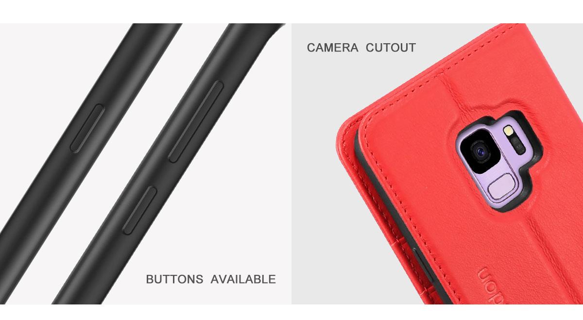 SHIELDON SAMSUNG Galaxy S9 Book Flip Folio Leather Wallet Case