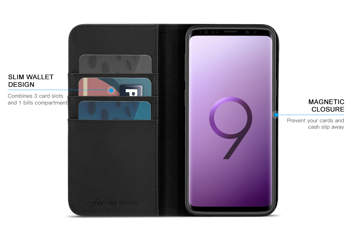 SHIELDON Galaxy S9 Plus Wallet Case