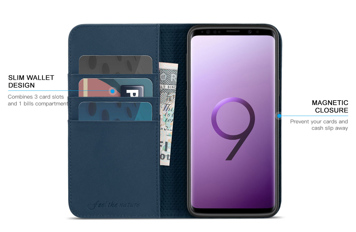 SHIELDON SAMSUNG Galaxy S9 Plus Genuine Leather Wallet Case