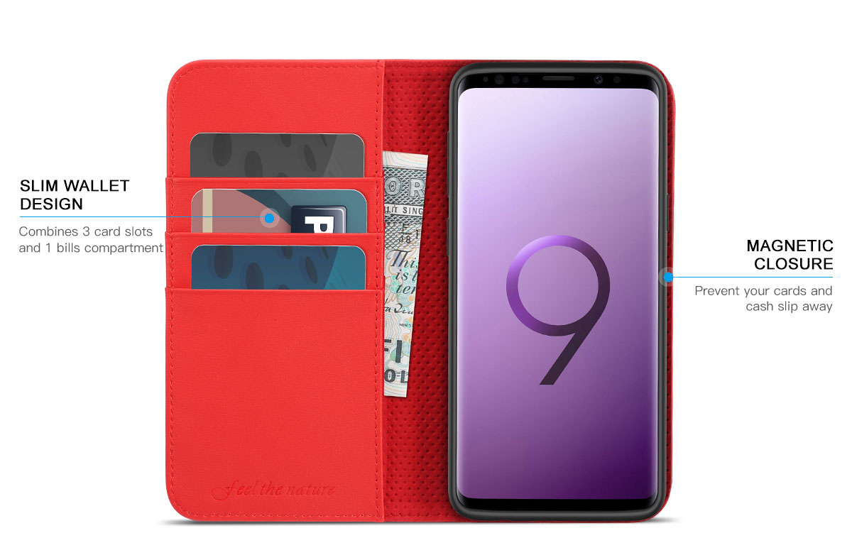 SHIELDON Samsung Galaxy S9 Plus Book Flip Folio Leather Wallet Case