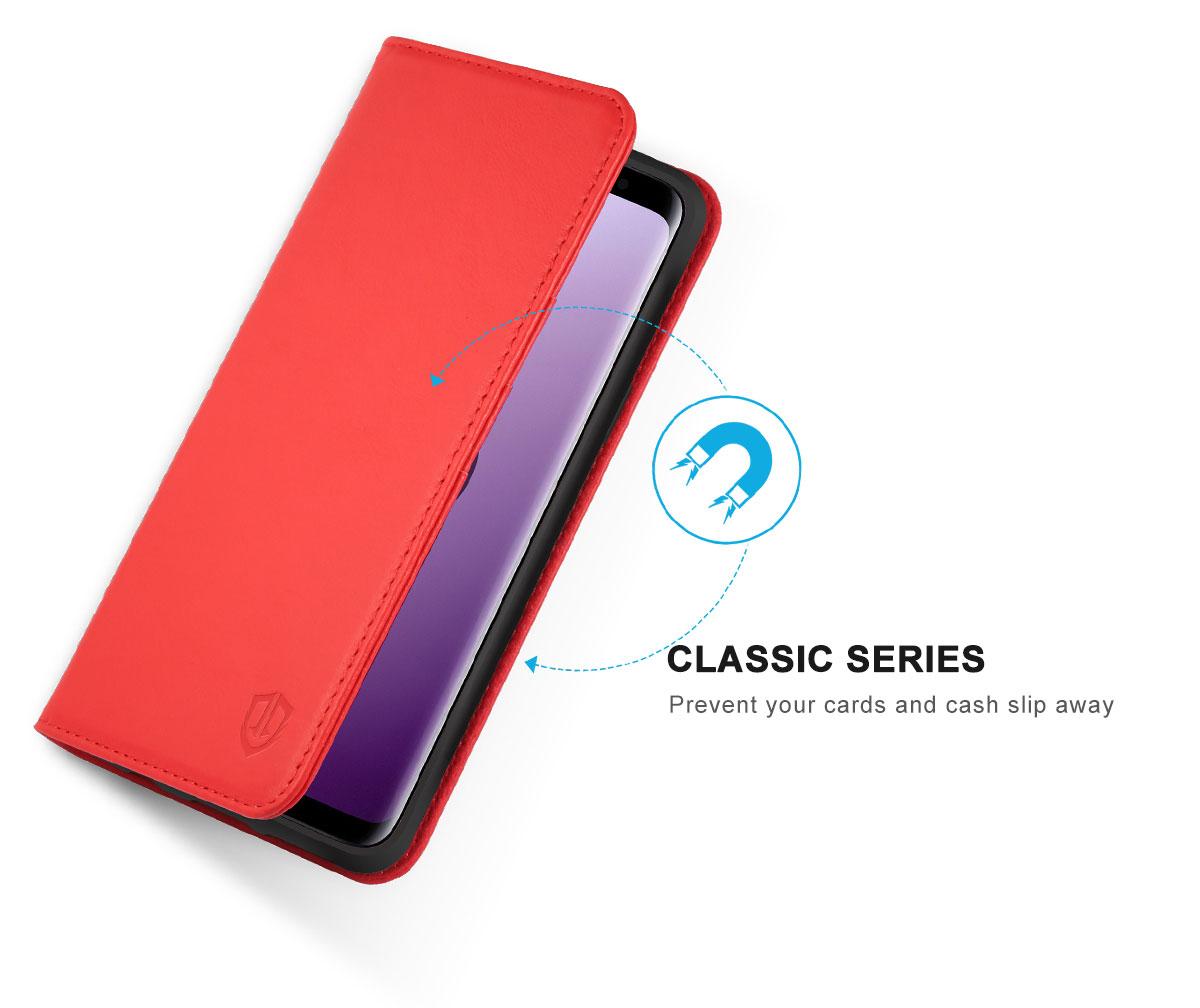 SHIELDON Galaxy S9 Plus Book Flip Folio Leather Wallet Case