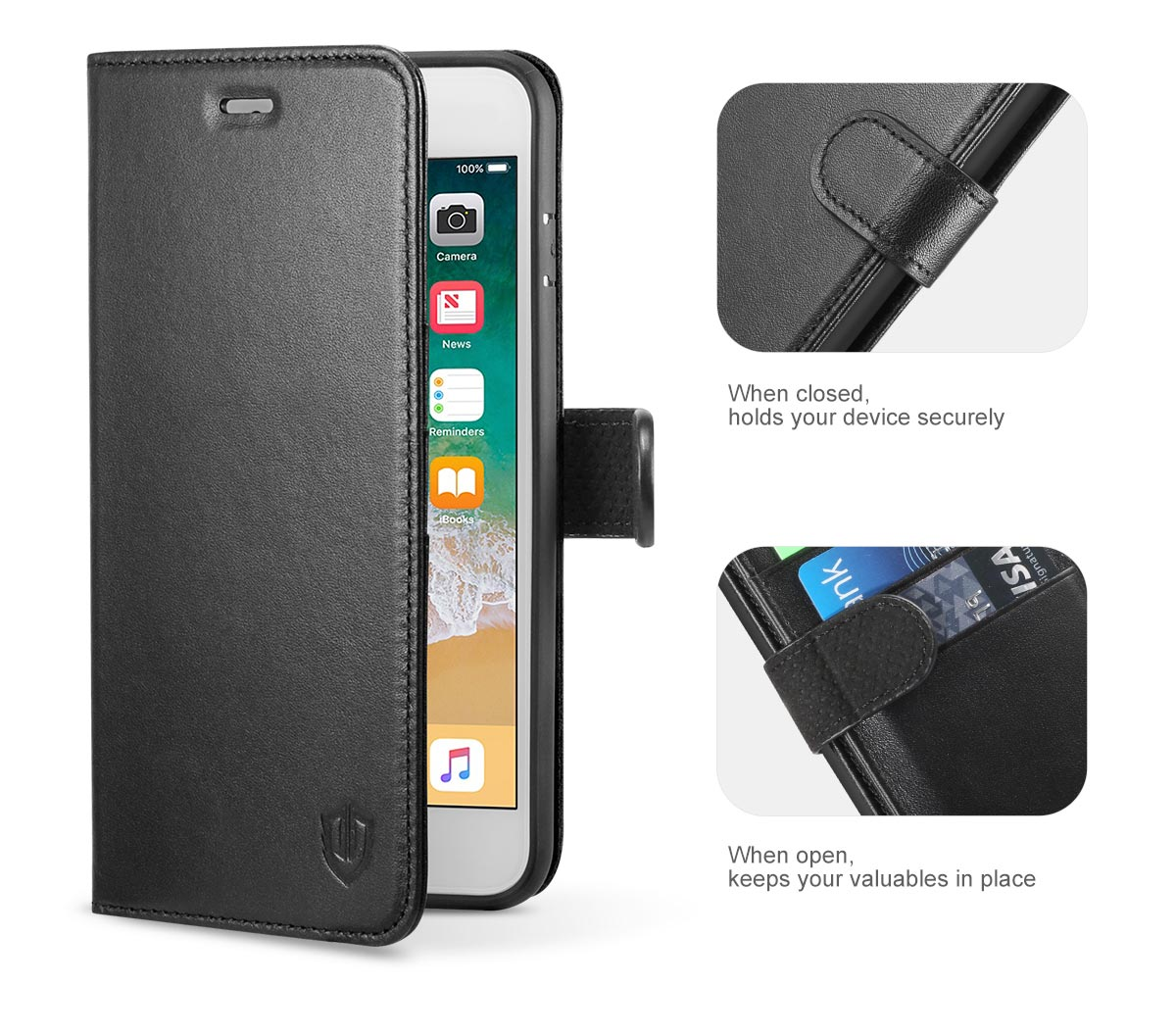Shieldon iPhone 8 Plus Genuine Leather Cover