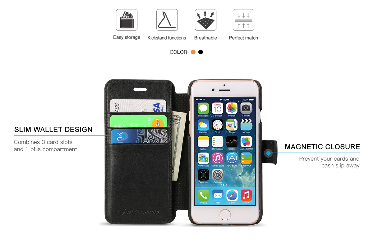 Shieldon iPhone 8 Wallet Case, handcrafted, Genuine Leather, Kickstand Function
