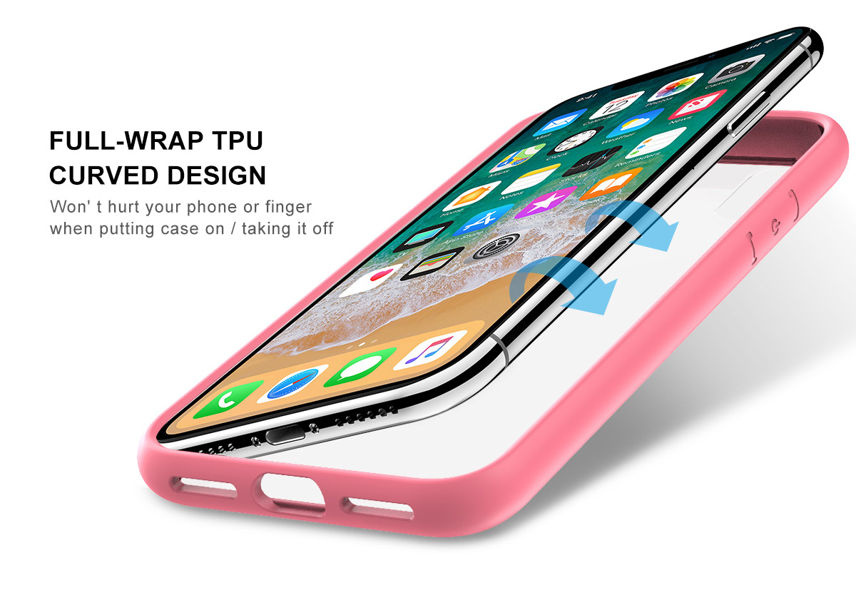SHIELDON iPhone XS, iPhone X Case - Pink color TPU bumper Case