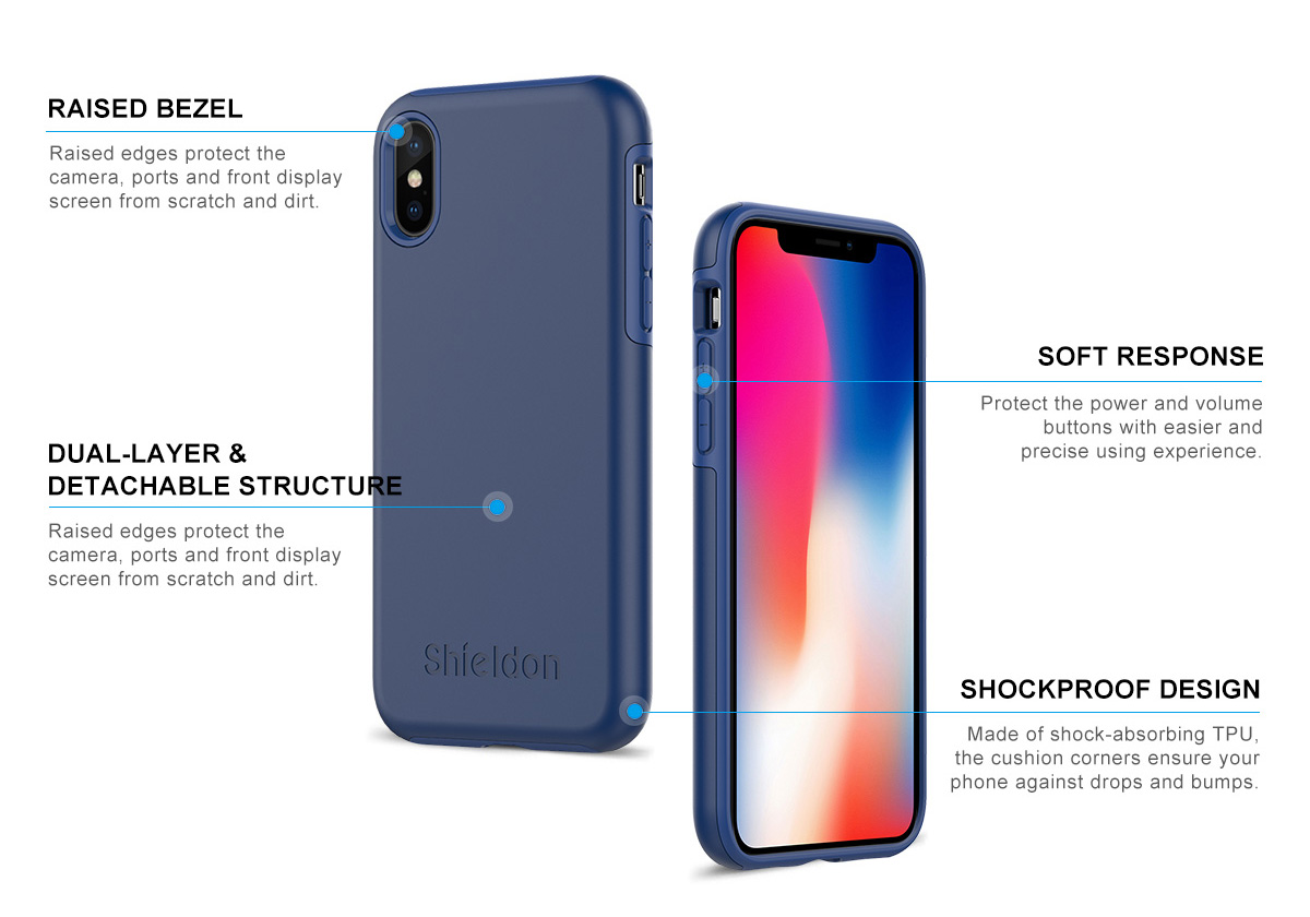 Shieldon iPhone X Drop Protection Case - Plateau Series