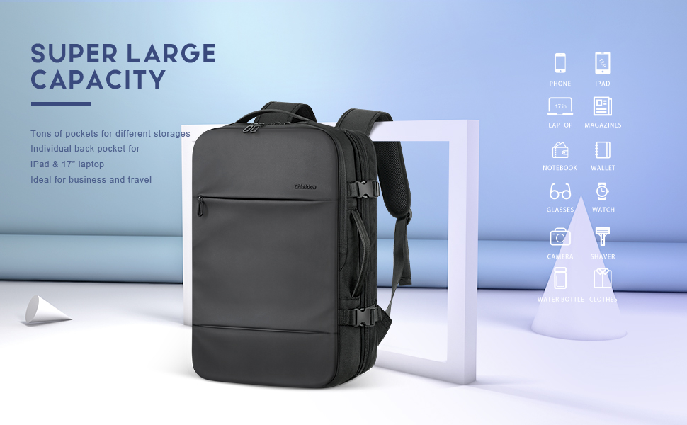 SHIELDON Expandable Travel Carry-on Laptop Backpack 17 Inch