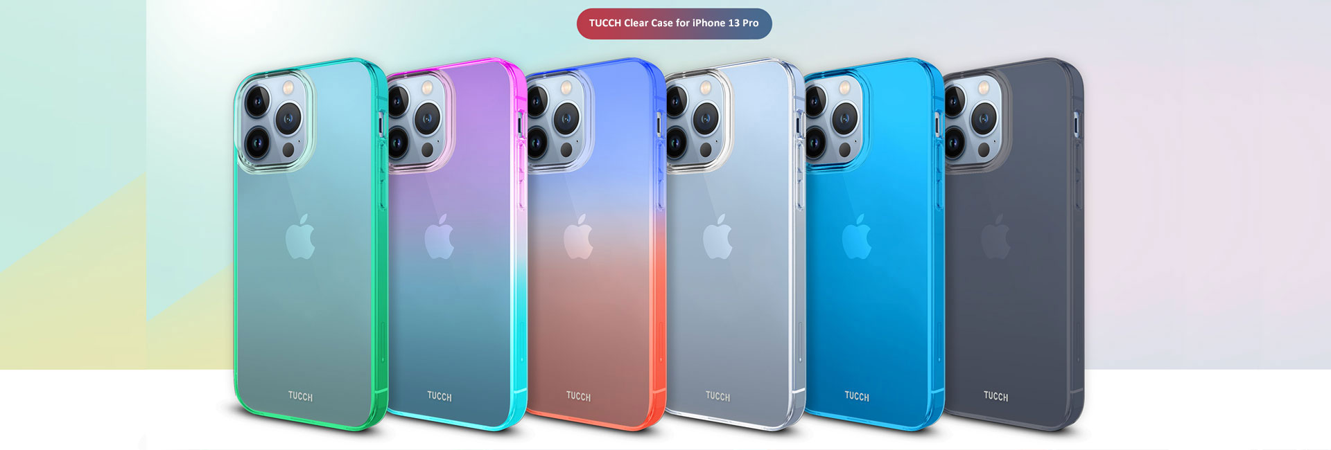 TUCCH iPhone 13 Pro Max Clear TPU Cases Gradient Color