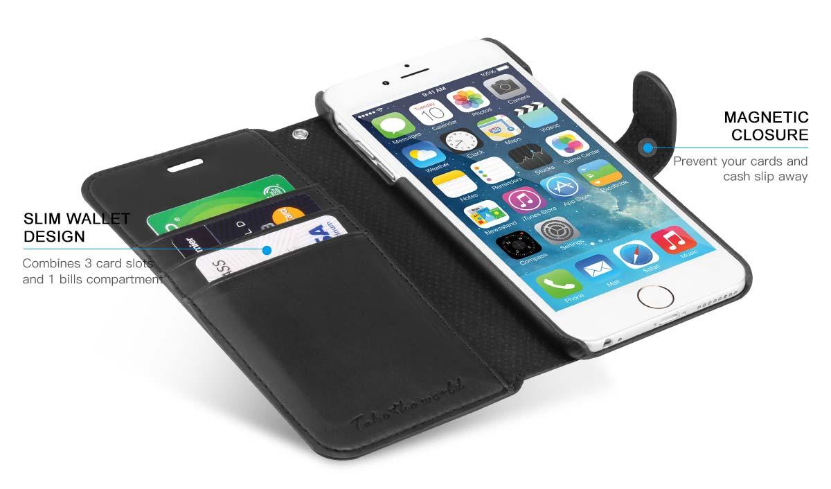 official photos 6eccb ac38a TUCCH iPhone 6S / 6 Plus Case, Wrist Strap, Wallet Case