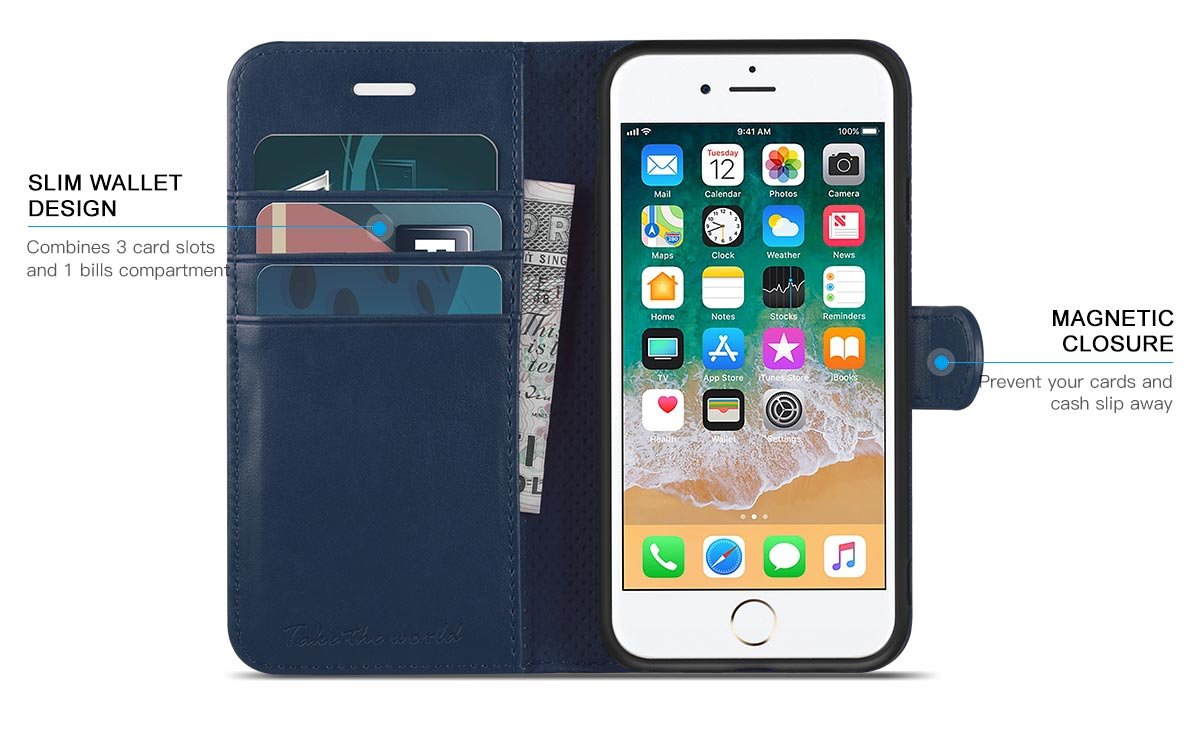 TUCCH iphone 6/6S PU Leather Flip Folio Wallet Case - TPU